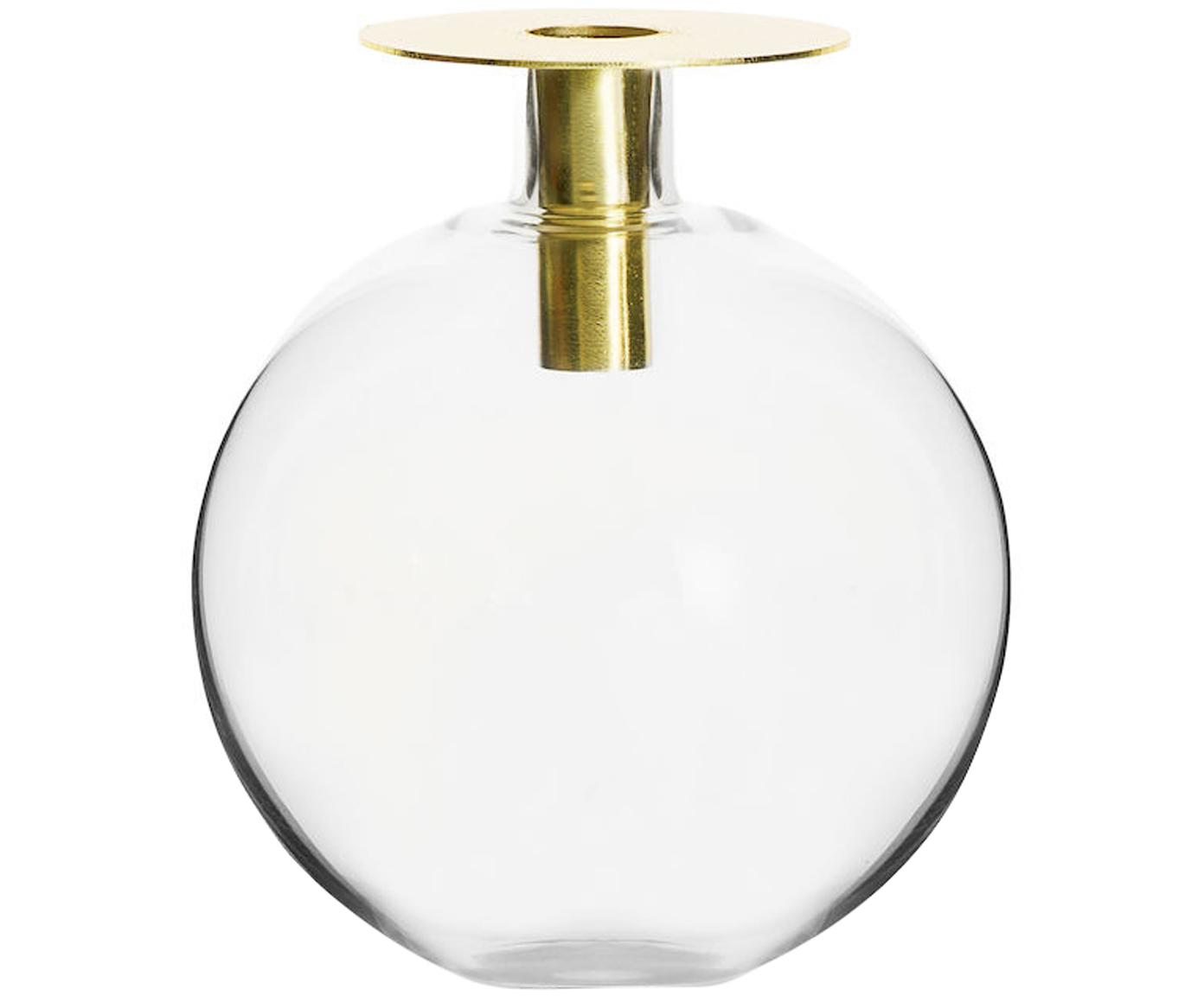 Jarrón Aniela, Metal, vidrio, Dorado, transparente, Ø 14 x Al 18 cm