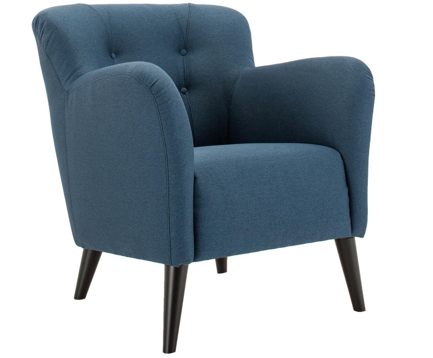 Fauteuil Retro, Frame: Hout, Poten: Beukenhout, gelakt, Hoes: Blauw. Poten: Zwart, 75 x 84 cm