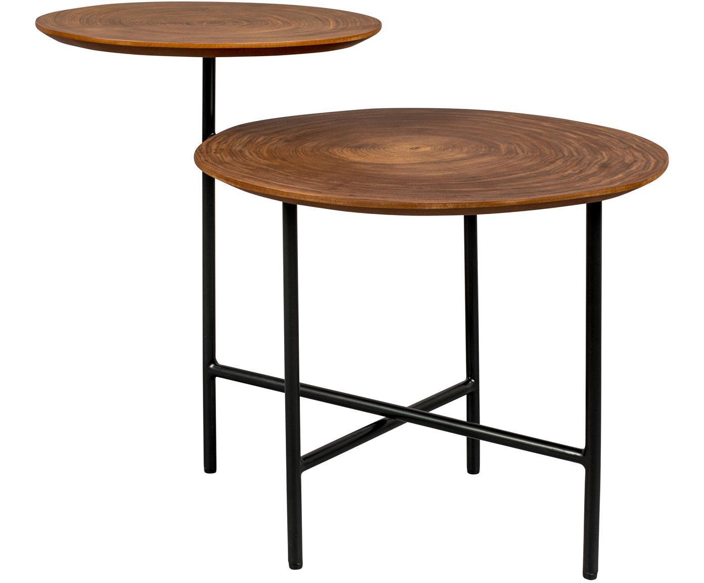 Stolik pomocniczy z dwoma blatami Mathison, Stelaż: metal malowany proszkowo, Czarny, drewno orzecha włoskiego, S 75 x G 49 cm