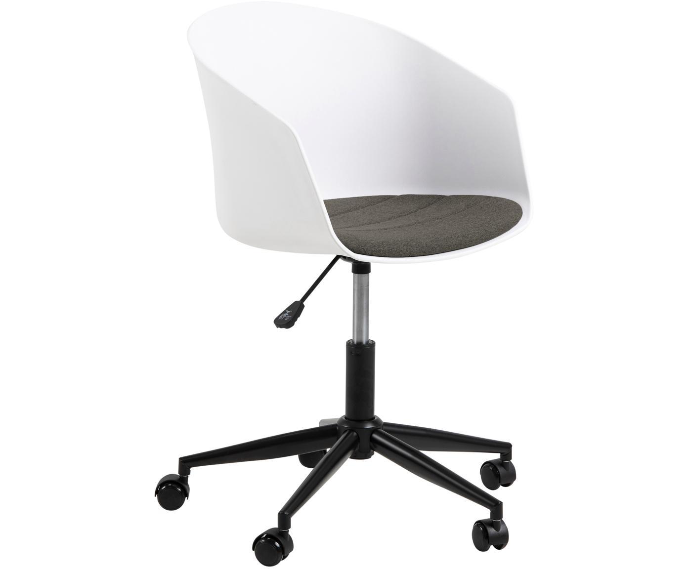 Krzesło biurowe Moon, Polipropylen, tkanina, metal, Biały, ciemny szary, czarny, S 65 x G 65 cm