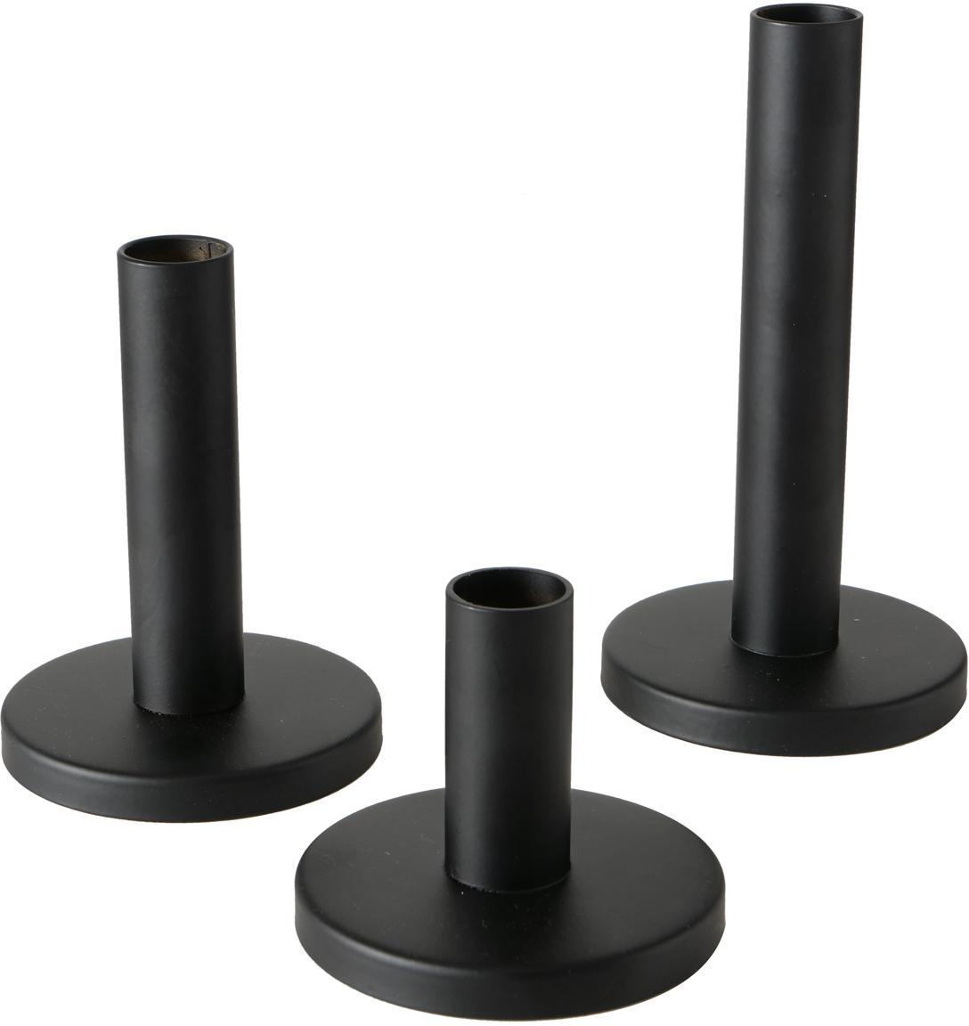 Set de candelabros Malko, 3pzas., Metal, recubierto, Negro, Set de diferentes tamaños