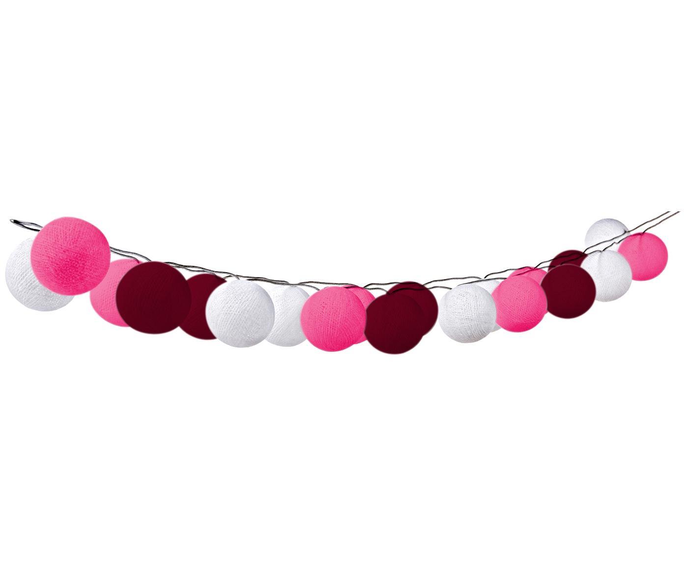 LED lichtslinger Bellin, Lampions: katoen, Roze, donkerrood, wit, L 320 cm