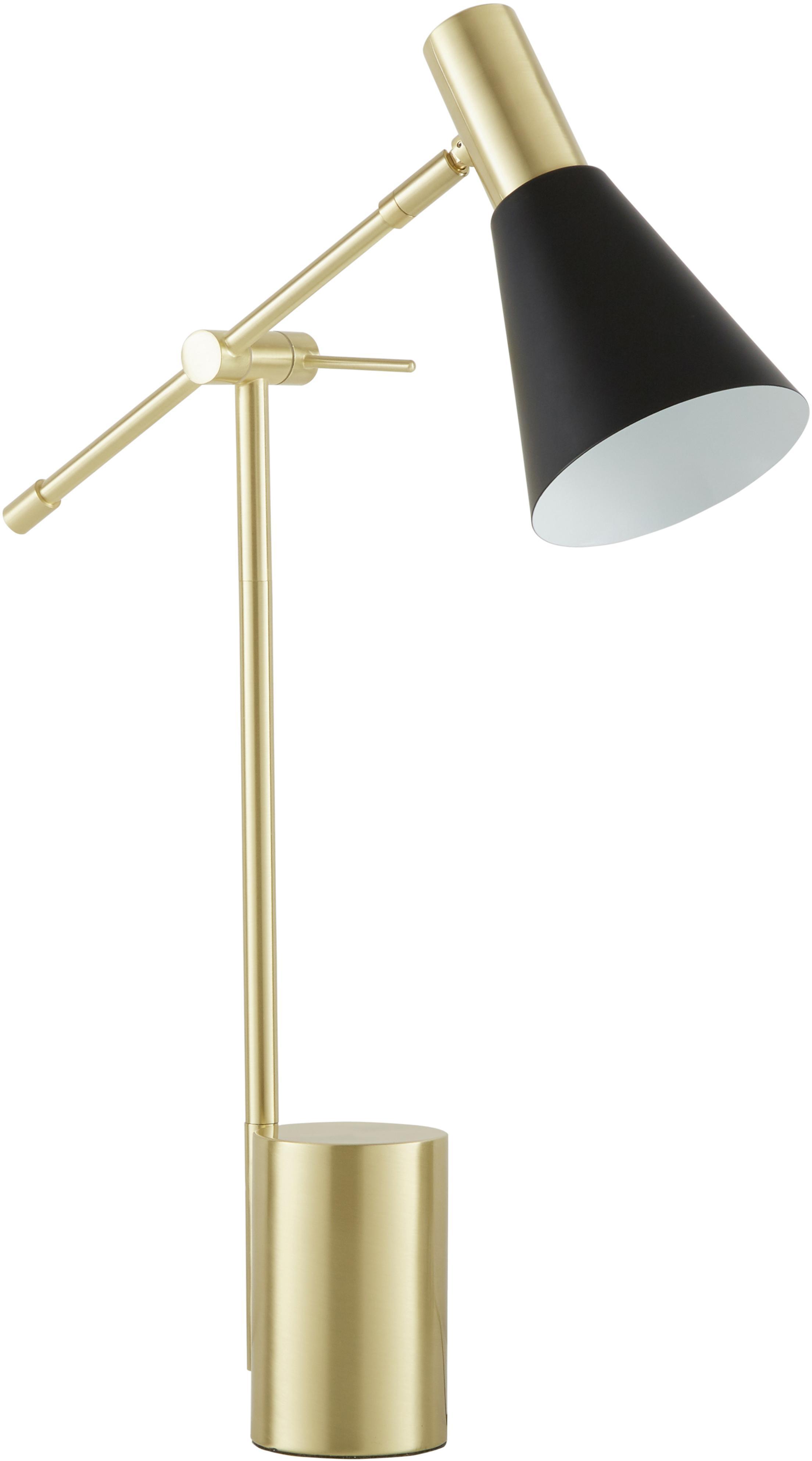 Lampada da scrivania Sia, Paralume: Metallo verniciato a polv, Base della lampada: Metallo ottonato, Nero ottonato, Ø 13 x Alt. 63 cm