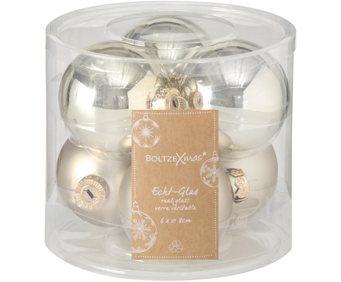 Weihnachtskugel-Set Lorene, 6 tlg., Champagnerfarben, matt und glänzend, Ø 8 cm