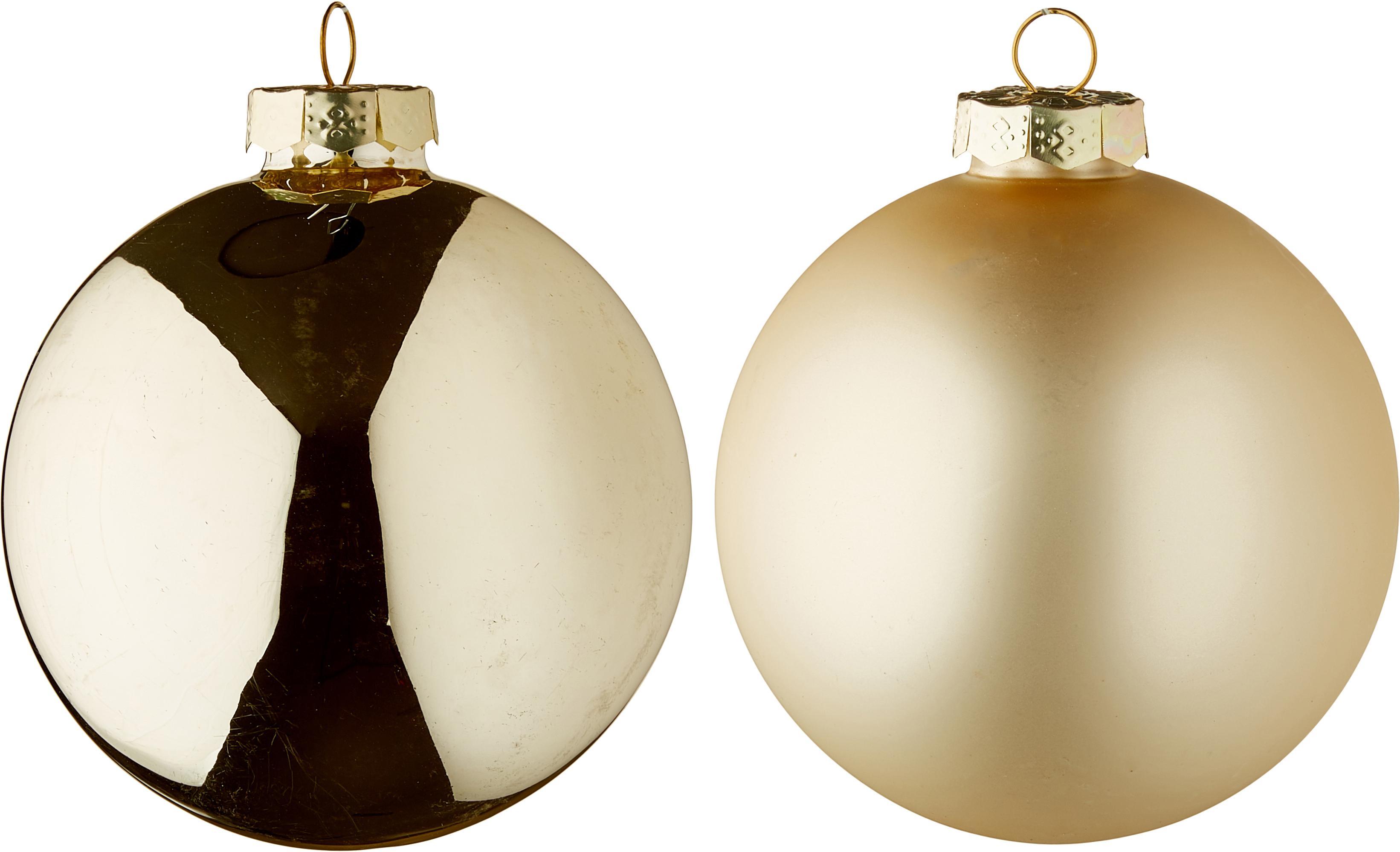 Set 6 palline di Natale Lorene, Champagne, opaco e lucido, Ø 8 cm