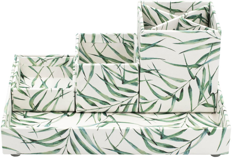 Büro-Organizer Leaf, Fester, laminierter Karton, Weiss, Grün, Set mit verschiedenen Grössen