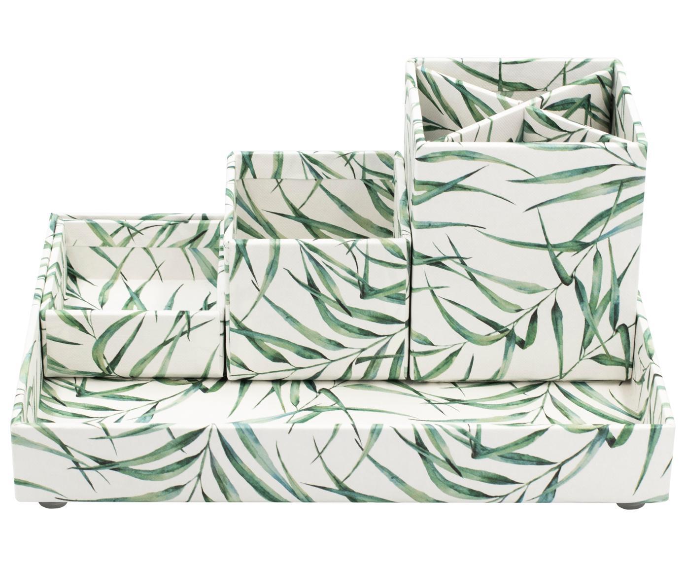 Organizador de escritorio Leaf, Cartón laminado macizo, Blanco, verde, Tamaños diferentes