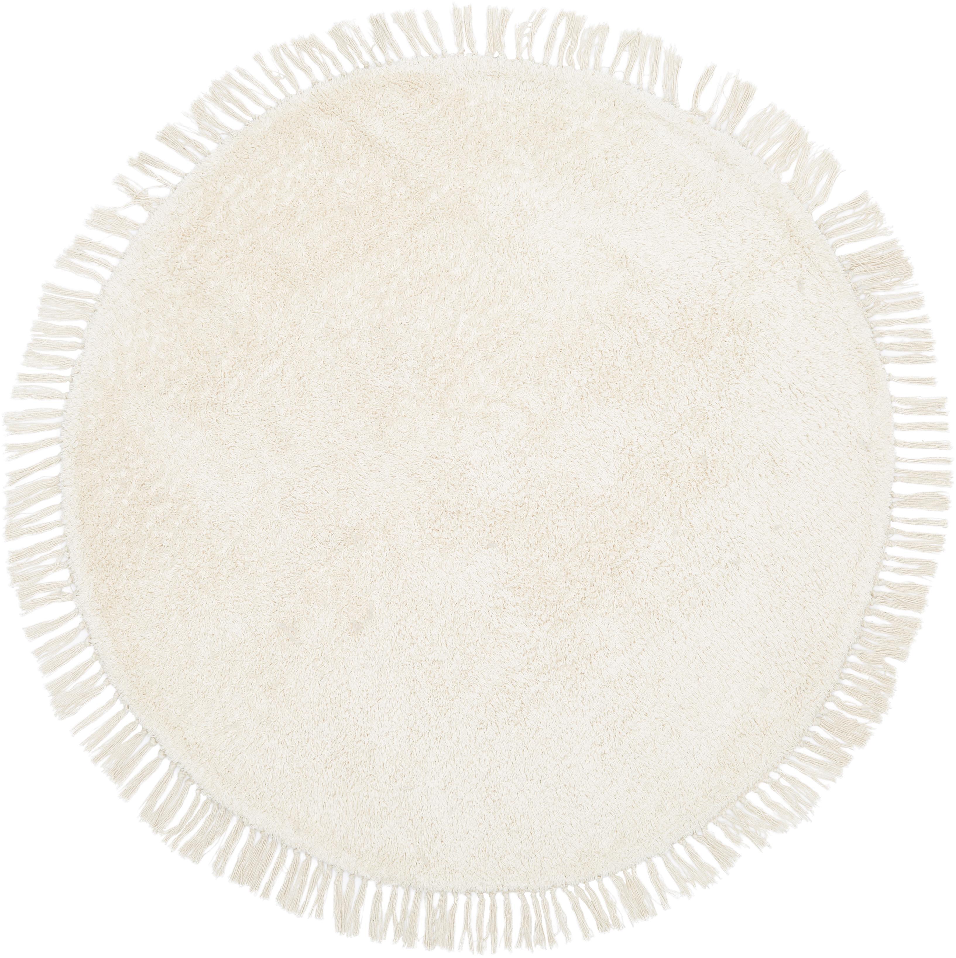 Alfombra redonda artesanal de algodón Daya, Beige, Ø 110 cm (Tamaño S)