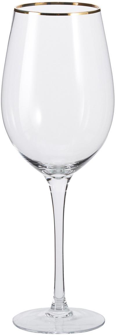Weingläser Chloe in Transparent mit Goldrand, 4er-Set, Glas, Transparent, Ø 9 x H 26 cm