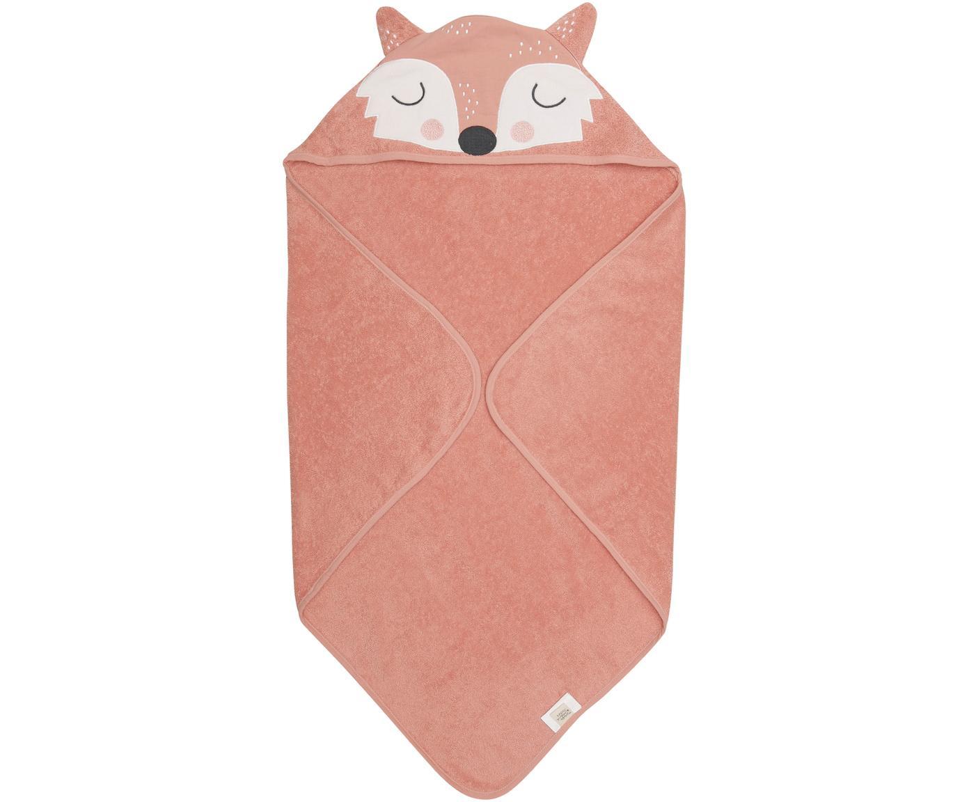 Babyhandtuch Fox Frida aus Bio-Baumwolle, Bio-Baumwolle, GOTS-zertifiziert, Rosa, Weiß, Schwarz, 80 x 80 cm