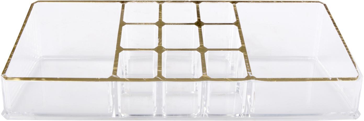 Porta trucchi Malla, Materiale sintetico, Trasparente, dorato, Larg. 22 x Alt. 5 cm