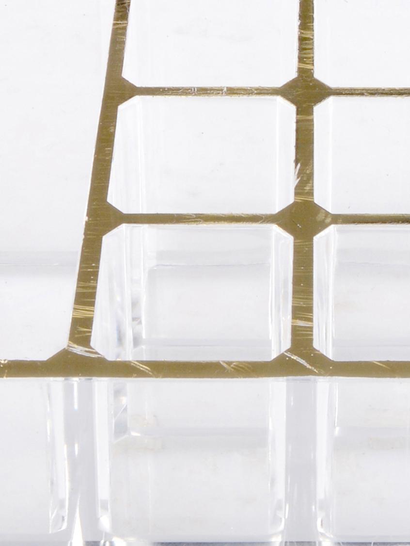Kosmetik-Organizer Malla, Kunststoff, Transparent, Goldfarben, 22 x 5 cm
