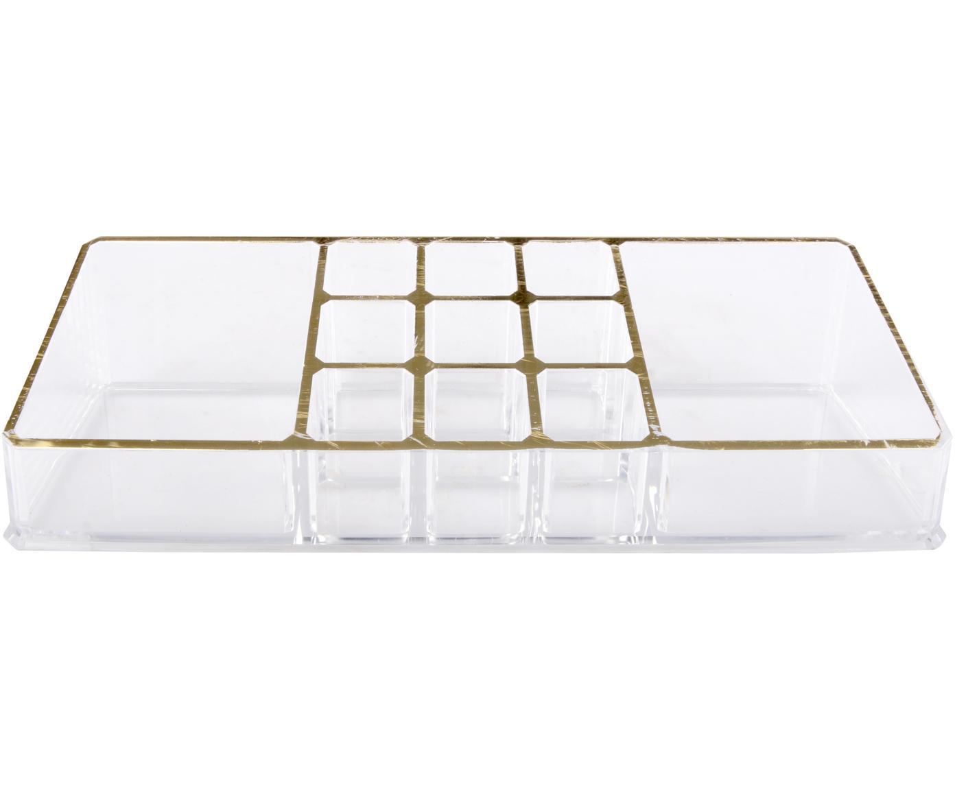 Organizador de cosméticos Malla, Plástico, Transparente, dorado, An 22 x Al 5 cm