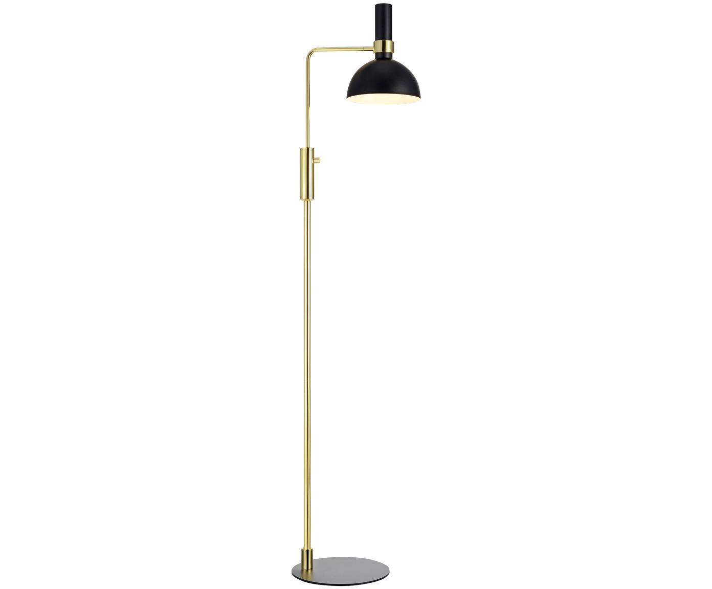 Lampa podłogowa z regulacją wysokości Larry, Czarny, mosiądz, S 33 x W 146 cm