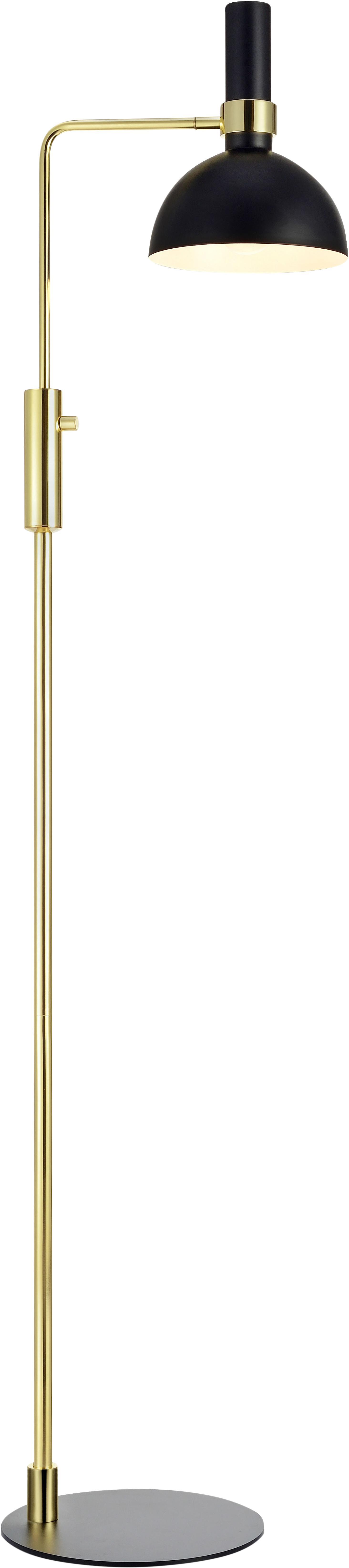 Leeslamp Larry, verstelbaar, Lampvoet: messing, Zwart, messingkleurig, 33 x 146 cm