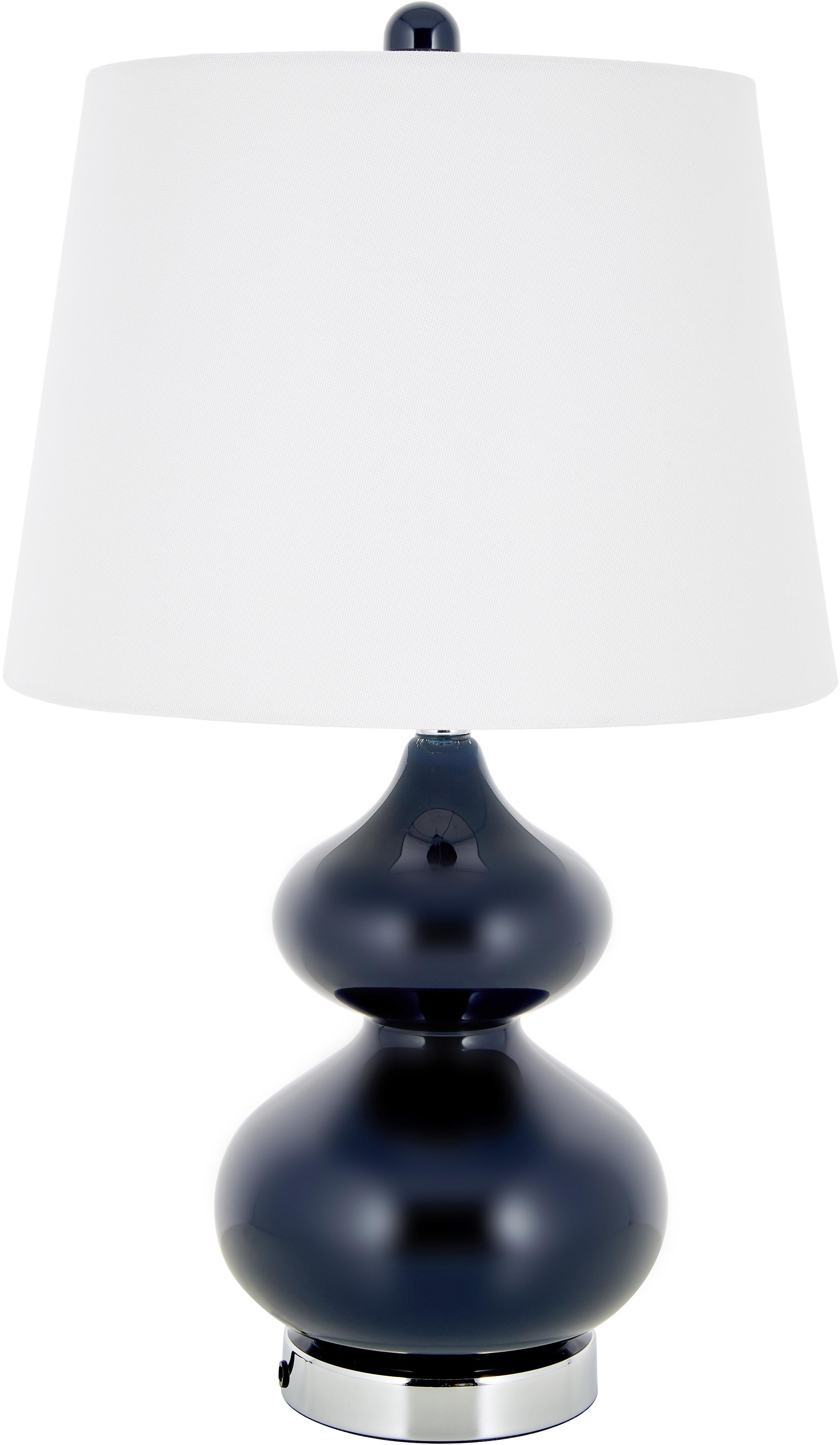 Grosse Tischlampen Felicitas, 2 Stück, Lampenschirm: Baumwolle, Sockel: Metall, Blau, Ø 35 x H 58 cm