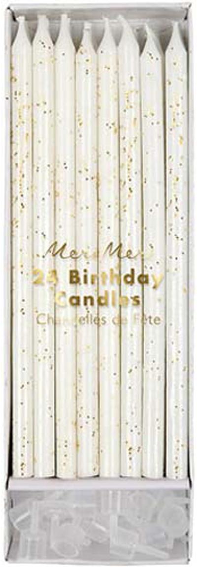 Set candele per torta Fete, 48 pz., Paraffina, materiale sintetico, Bianco, dorato, Ø 1 x Alt. 15 cm