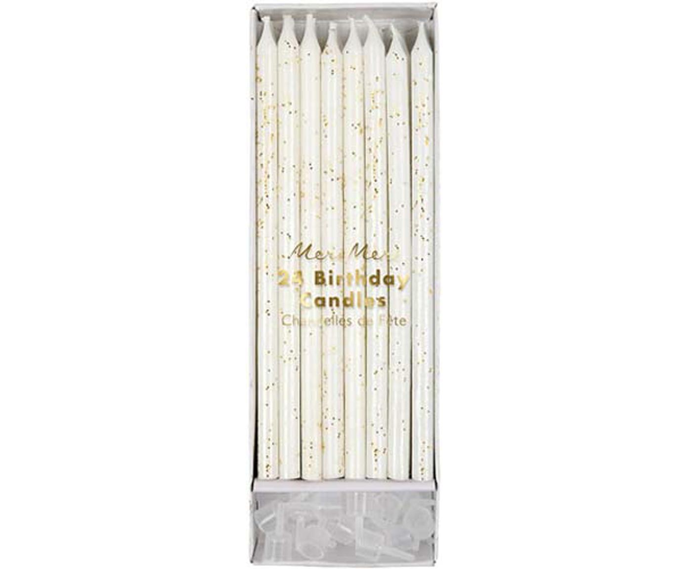 Set de velas de pastel Fete, 48pzas., Parafina, plástico, Blanco, dorado, Ø 1 x Al 15 cm