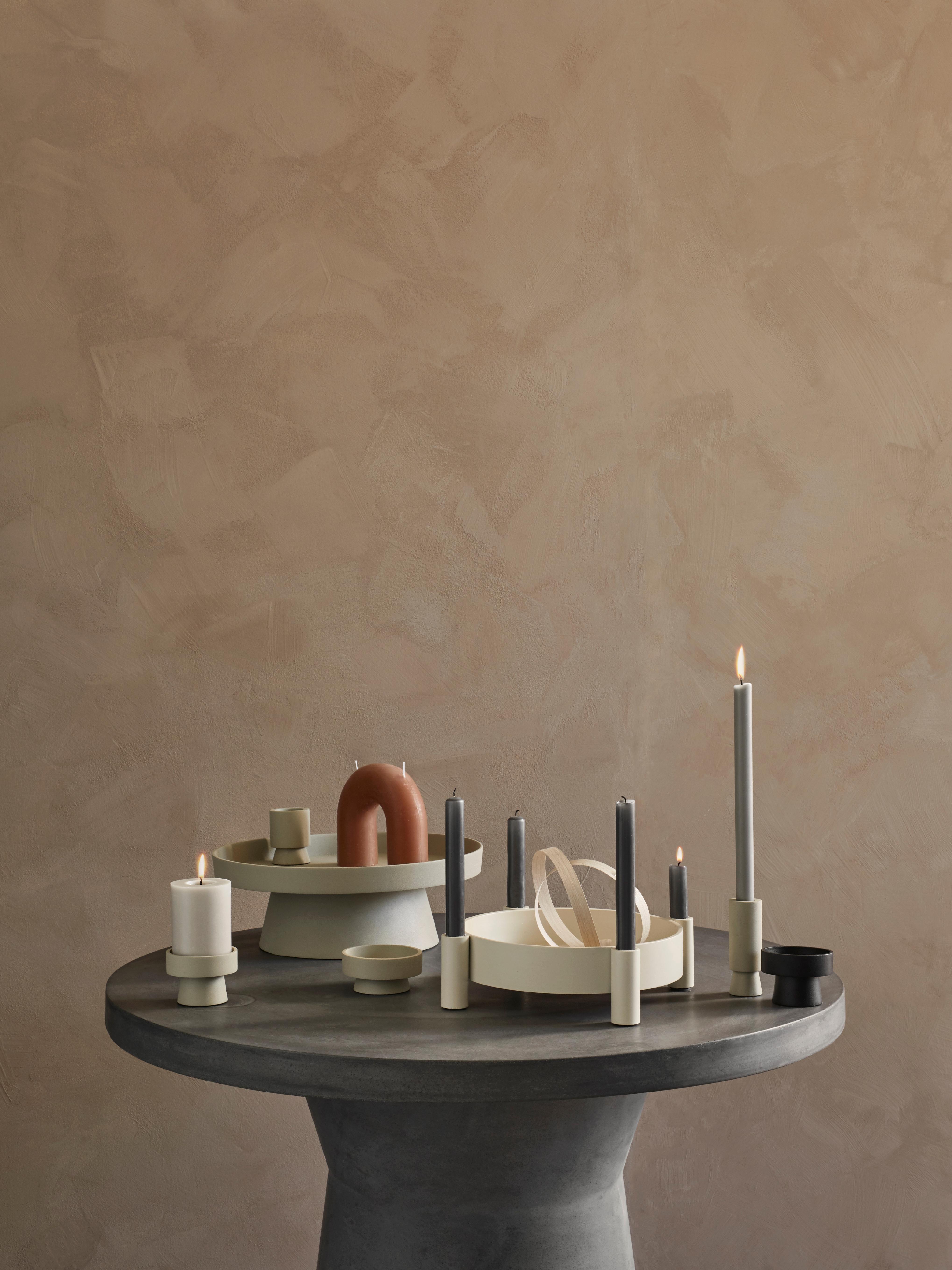 Candela a due stoppini Bend, Cera, Terracotta, Larg. 17 x Alt. 15 cm