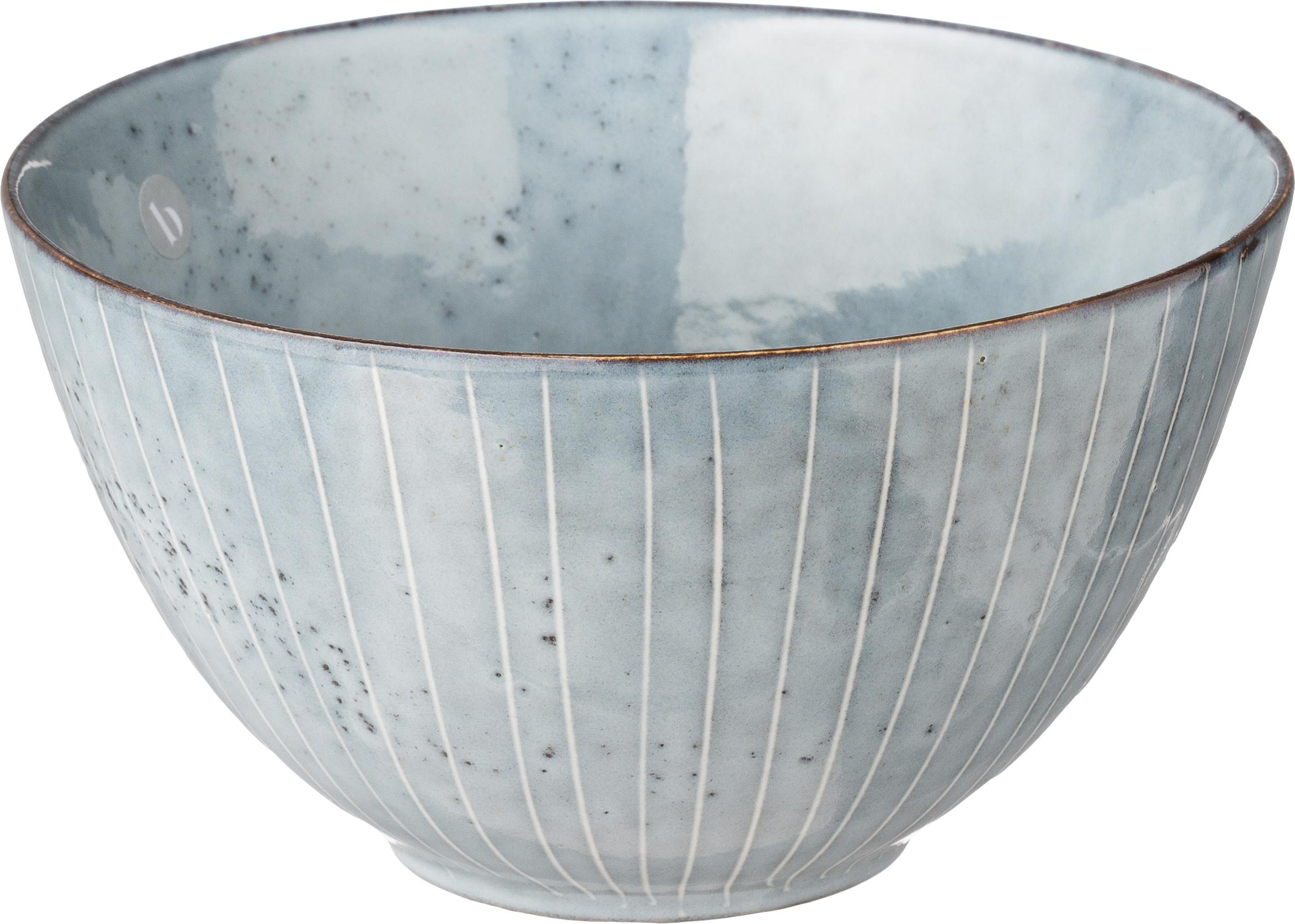 Ręcznie wykonana miska z kamionki Nordic Sea, 4 szt., Kamionka, Szary i niebieski, Ø 15 x 8 cm