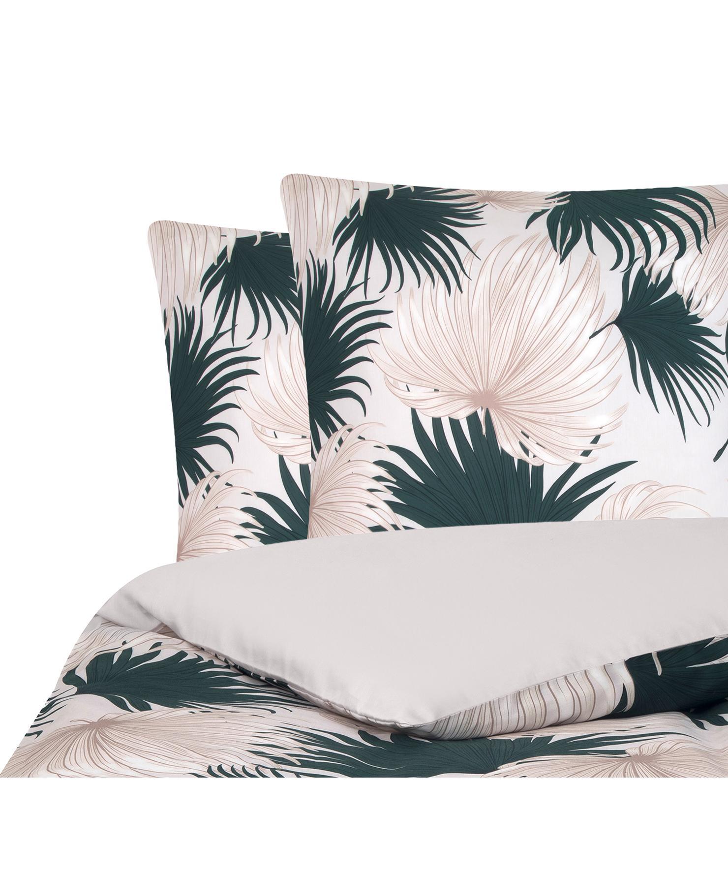 Parure copripiumino reversibile in raso di cotone Aloha, Tessuto: raso, Fronte: beige, verde Retro: beige, 255 x 200 cm