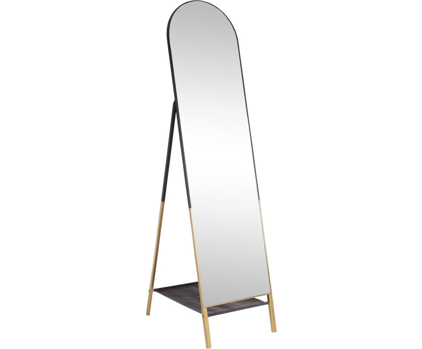 Vloerspiegel Reflix met zwarte houten lijst, Lijst: gecoat metaal, Zwart, goudkleurig, 42 x 170 cm