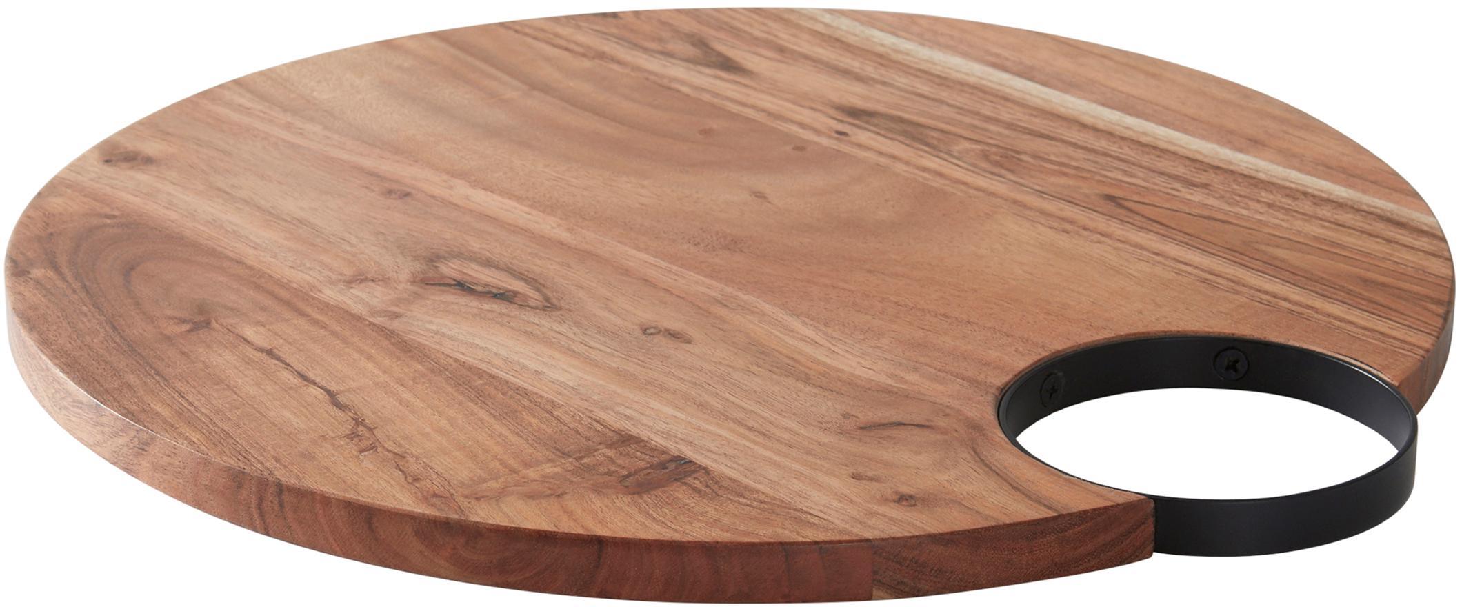 Tabla de cortar de madera Valentine, Madera de acacia, negro, An 40 x F 38 cm
