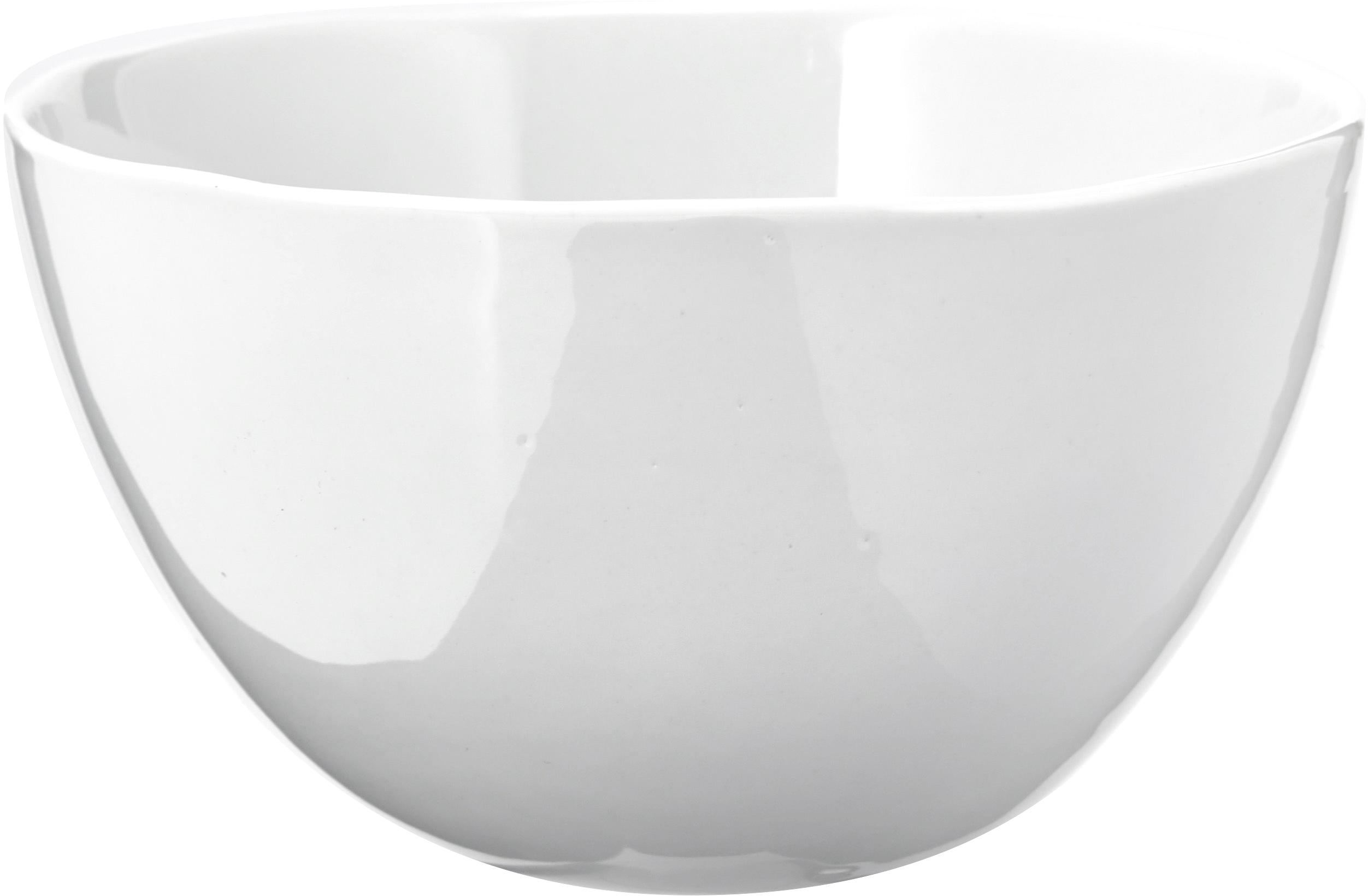 Ciotola Porcelino con superficie irregolare 6 pz, Porcellana, volutamente irregolare, Bianco, Ø 15 x Alt. 8 cm