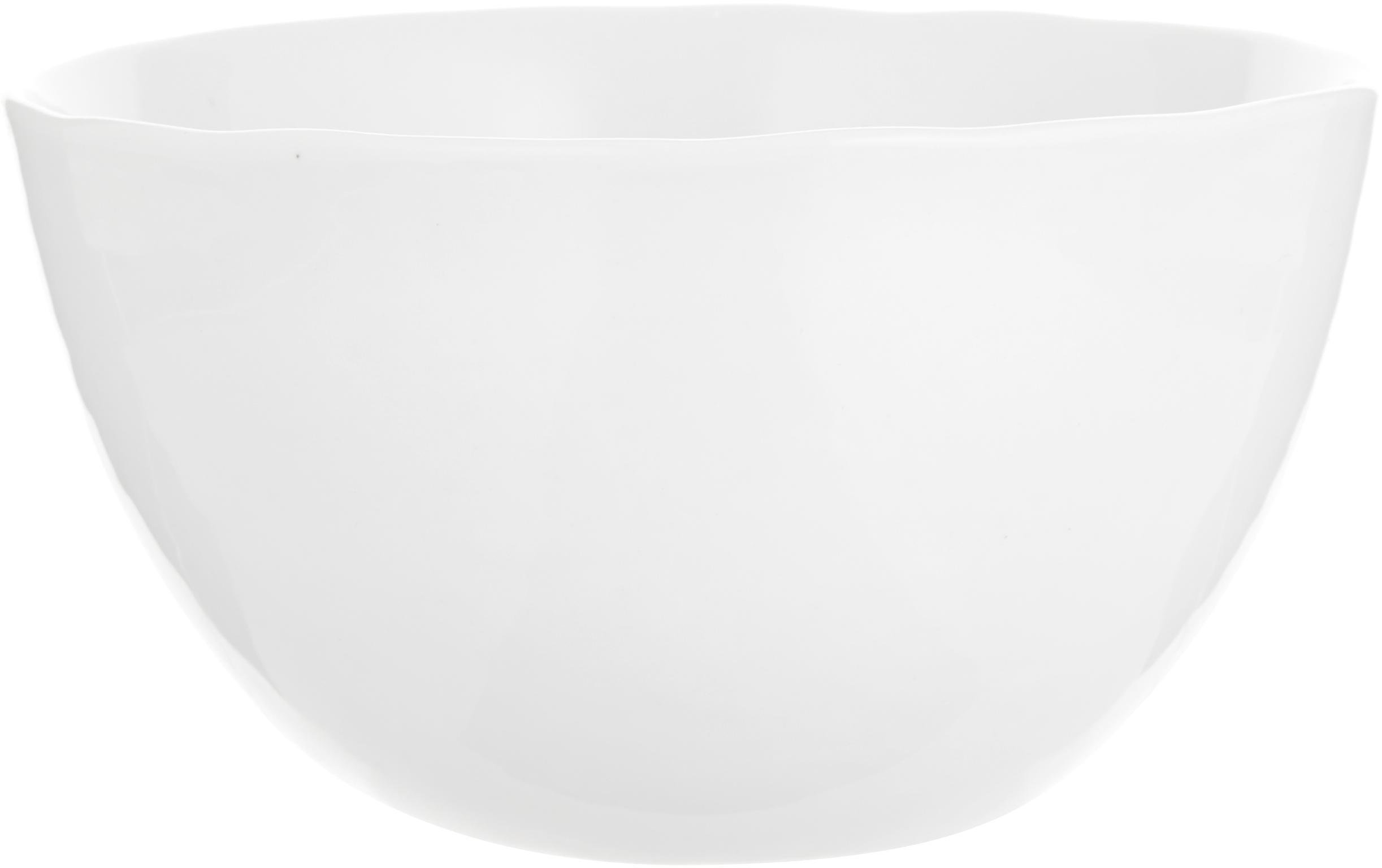Miska Porcelino, 6 szt., Porcelana o celowo nierównym kształcie, Biały, Ø 15 x 8 cm