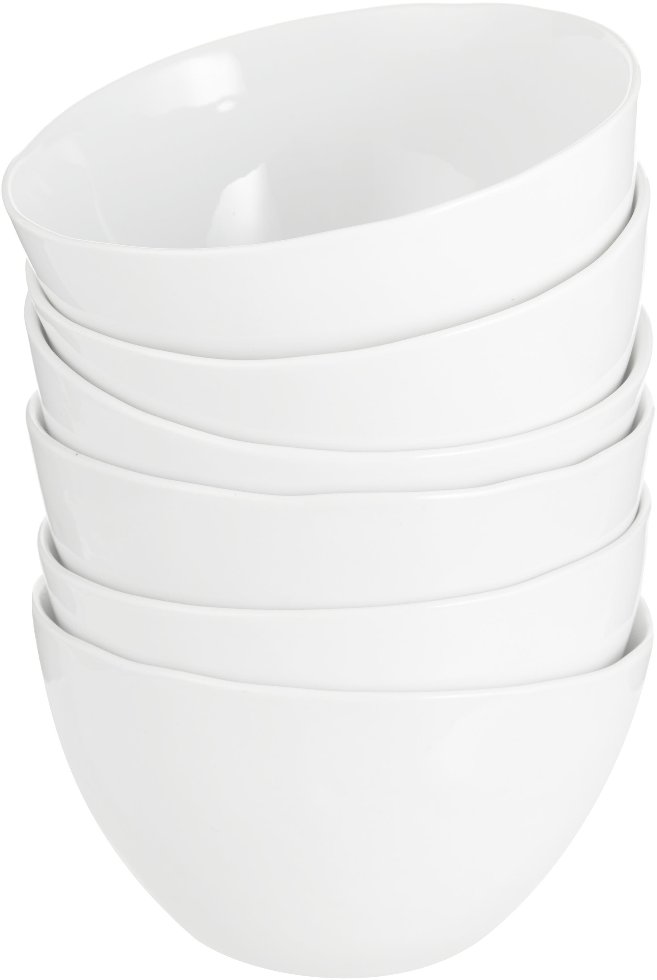 Schälchen Porcelino mit unebener Oberfläche, 6 Stück, Porzellan, gewollt ungleichmäßig, Weiß, Ø 15 x H 8 cm