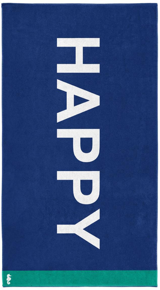 Ręcznik plażowy Happy, Welur (bawełna) Średnia gramatura, 420g/m², Niebieski, biały, zielony, S 100 x D 180 cm
