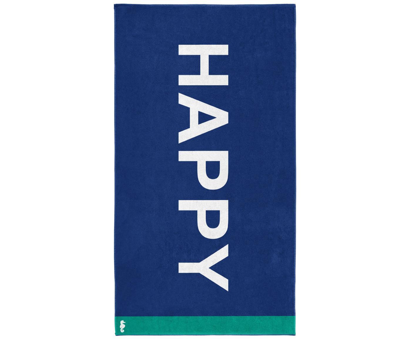 Strandlaken Happy, Fluweel (katoen) middelzware stofkwaliteit, 420g/m², Blauw, wit, groen, 100 x 180 cm