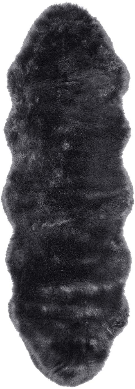 Imitatie schapenvacht Mathilde, glad, Bovenzijde: 65% acryl, 35% polyester, Onderzijde: 100% polyester, Donkergrijs, 60 x 180 cm