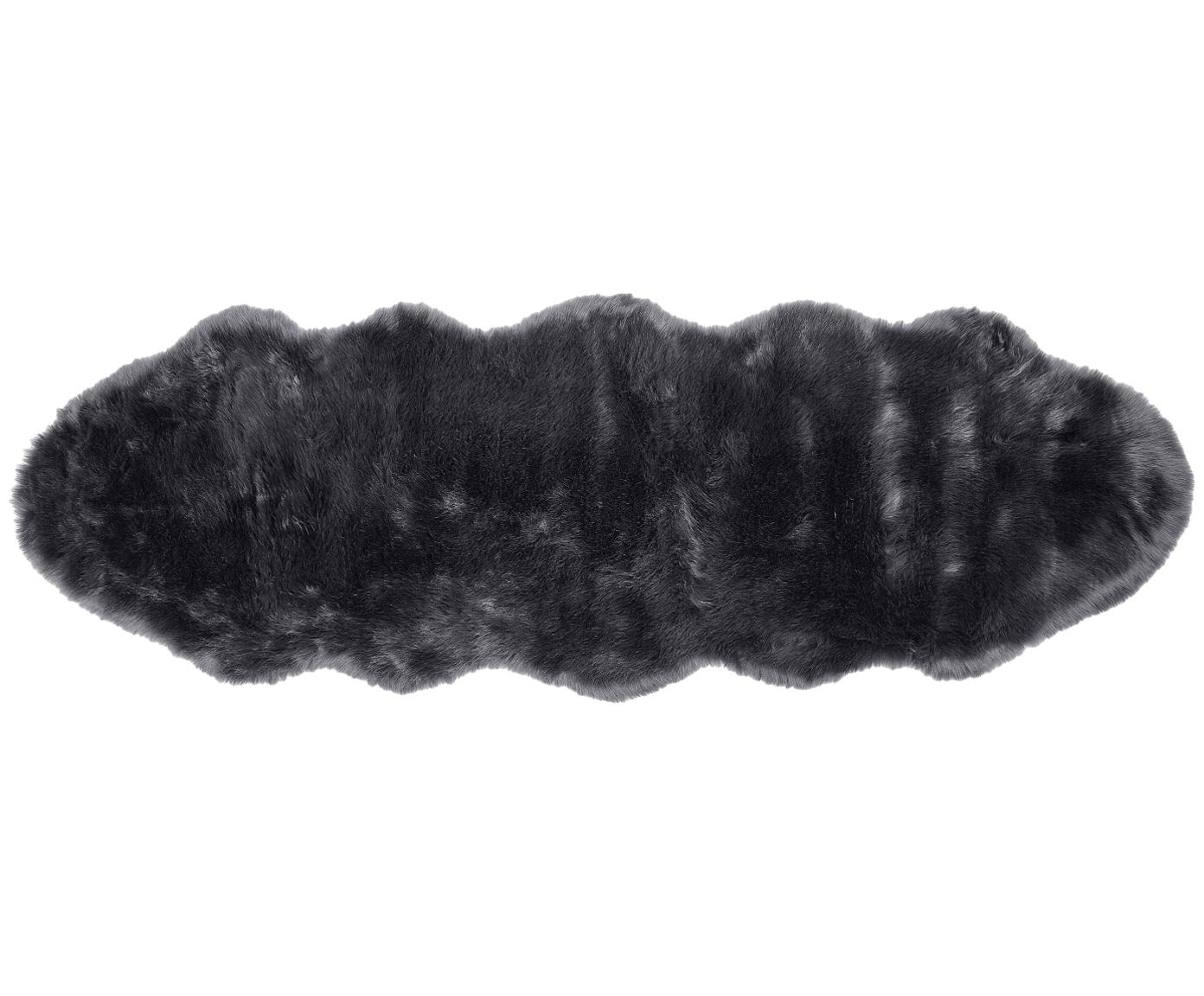 Tappeto in ecopelliccia liscia Mathilde, Retro: 100% poliestere, Grigio scuro, Larg. 60 x Lung. 180 cm