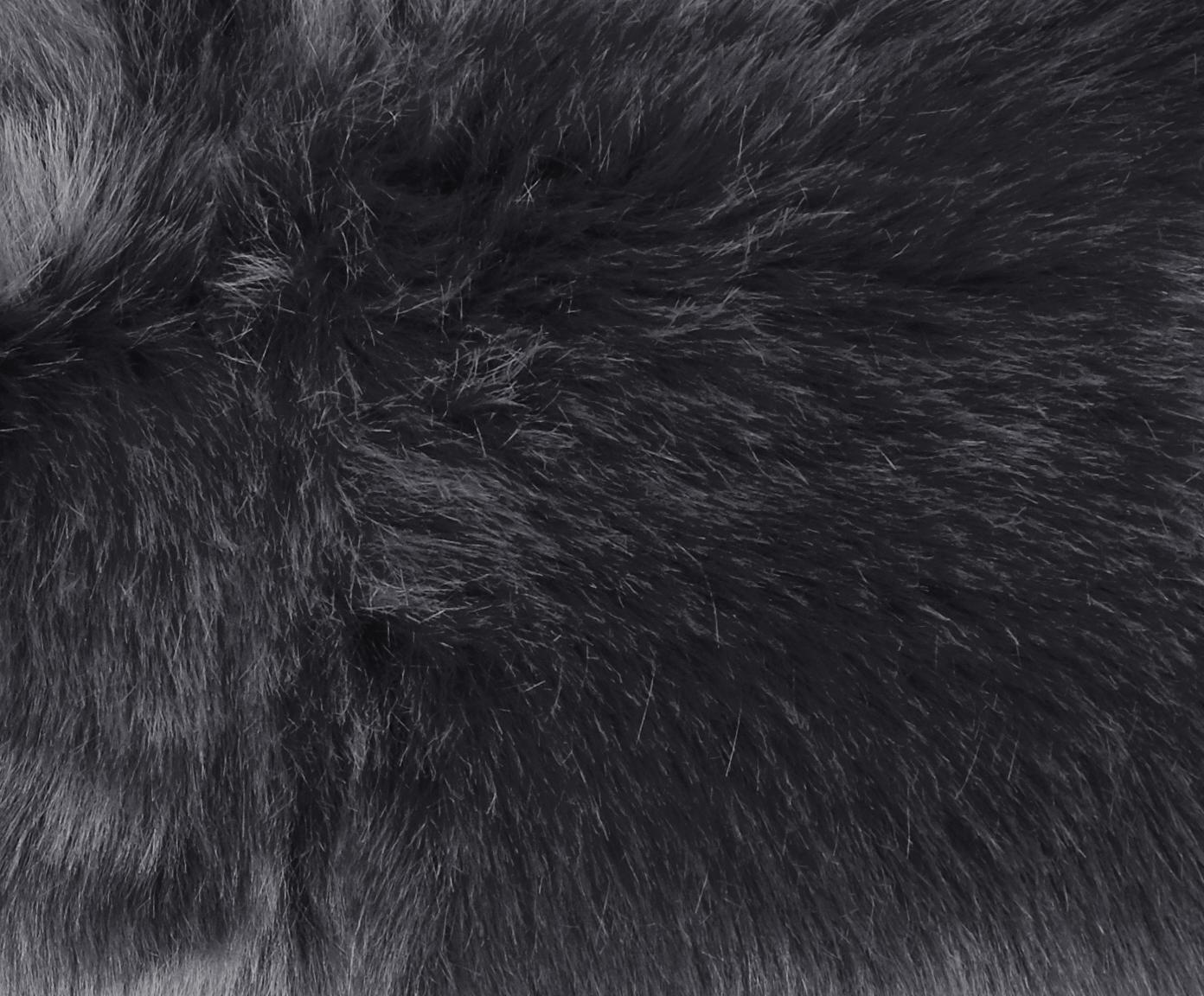 Kunstfell-Teppich Mathilde, glatt, Flor: 65% Acryl, 35% Polyester, Rückseite: 100% Polyester, Dunkelgrau, 60 x 180 cm