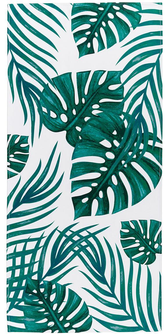 Licht strandlaken Jungle, 55% polyester, 45% katoen zeer lichte kwaliteit, 340 g/m², Wit, groen, 70 x 150 cm