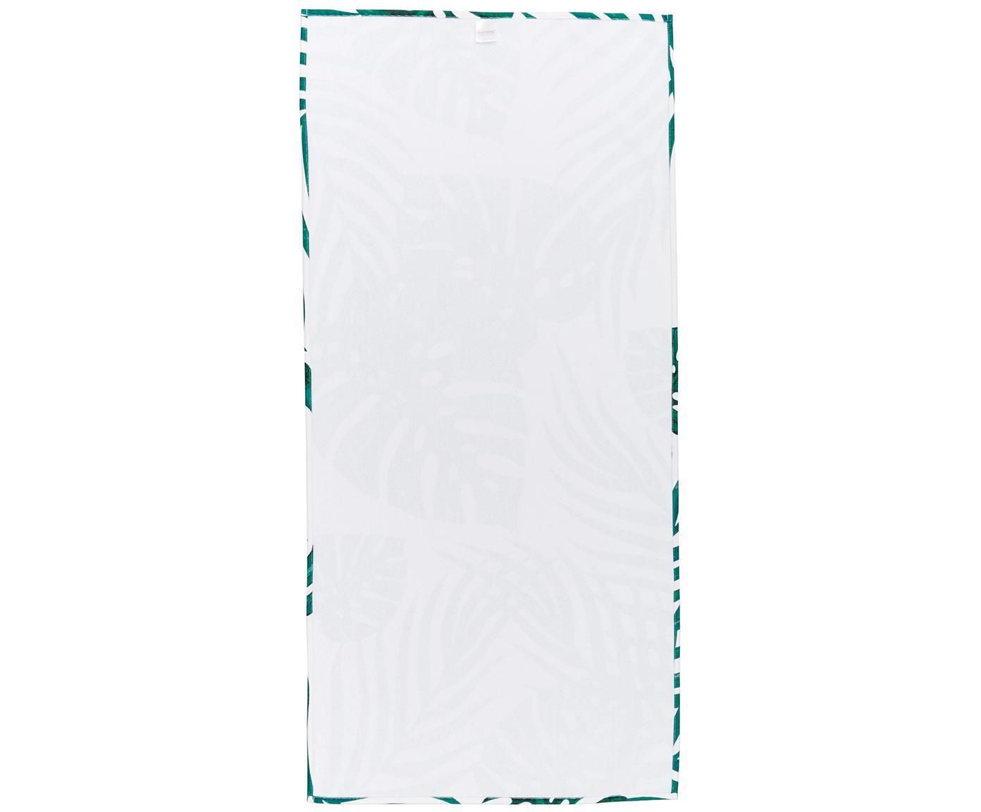 Leichtes Strandtuch Jungle mit tropischem Print, 55% Polyester, 45% Baumwolle Sehr leichte Qualität, 340 g/m², Weiß, Grün, 70 x 150 cm
