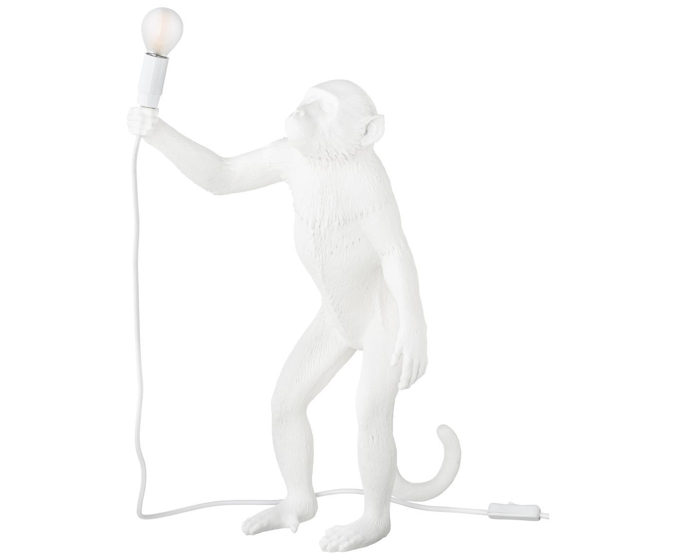 Lampada da tavolo a LED Monkey, Resina, Bianco, Larg. 46 x Alt. 54 cm