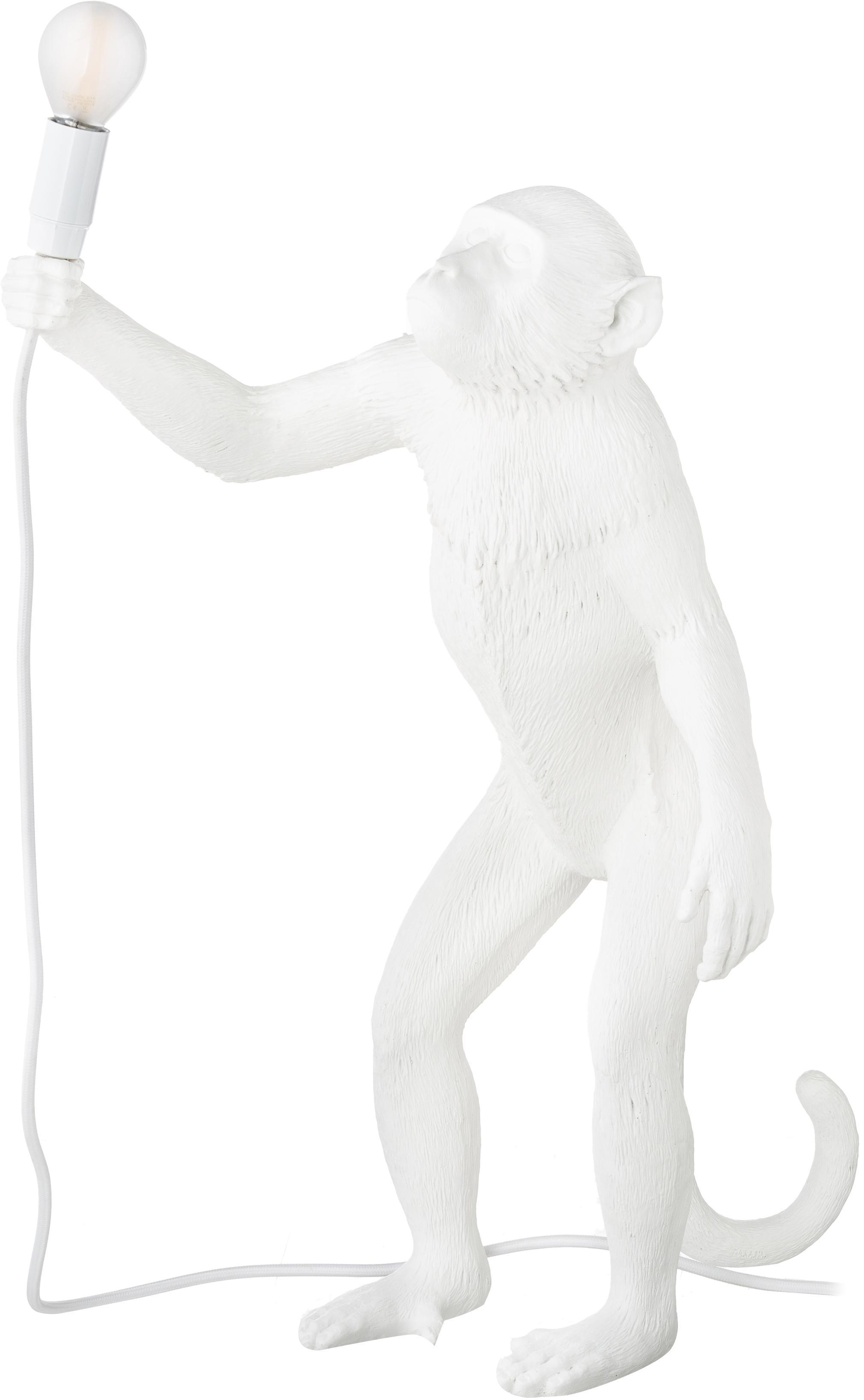 Design-Tischlampe Monkey, Weiß, 46 x 54 cm