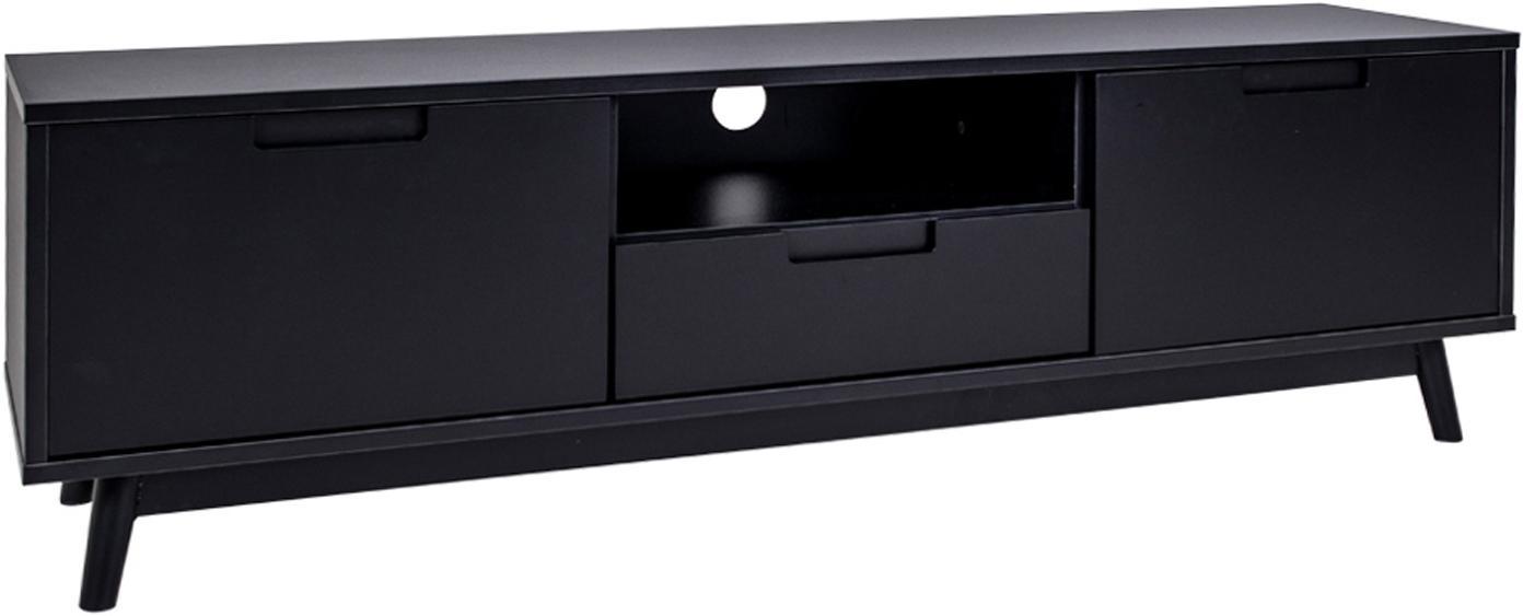 Mobile TV in legno di pino Copenhagen, Piedini: legno di pino, Nero, Larg. 150 x Prof. 46 cm