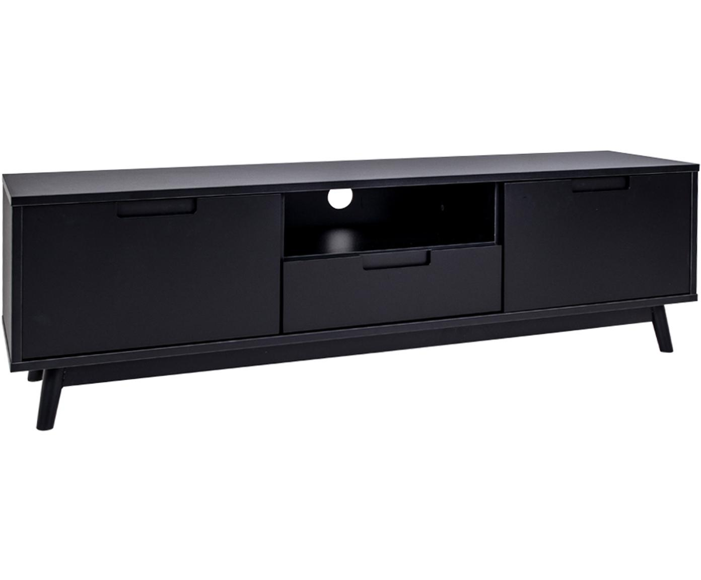 Mueble TV de madera de pino Copenhagen, Estructura: tablero de fibras de dens, Patas: madera de pino, Negro, An 150 x Al 46 cm