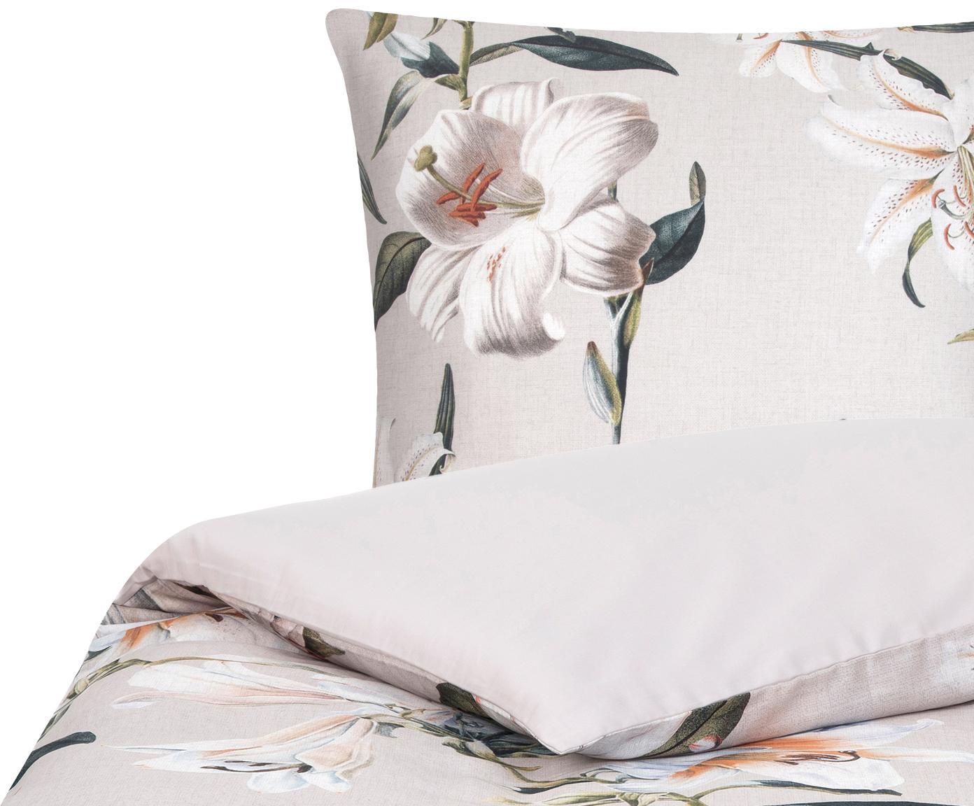 Pościel z satyny bawełnianej Flori, Przód: beżowy, kremowobiały Tył: beżowy, 135 x 200 cm