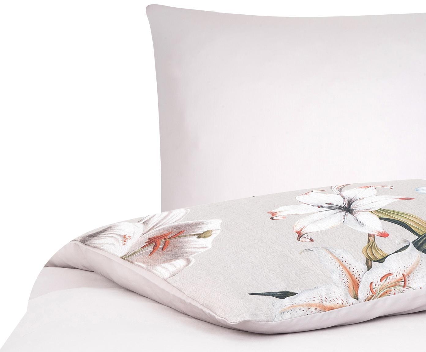 Baumwollsatin-Bettwäsche Flori mit Blumen-Print, Webart: Satin Fadendichte 210 TC,, Vorderseite: Beige, CremeweißRückseite: Beige, 135 x 200 cm + 1 Kissen 80 x 80 cm