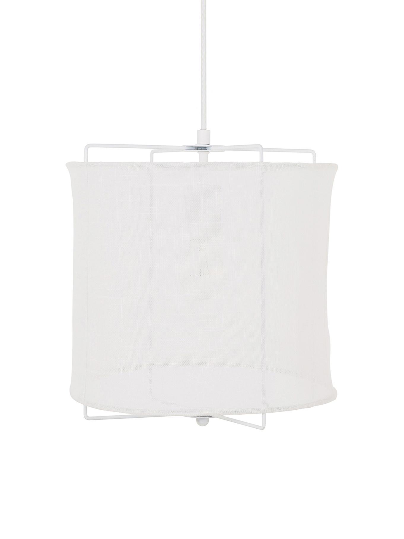 Hanglamp Clouds van linnen, Lampenkap: linnen, Wit, Ø 30 x H 30 cm