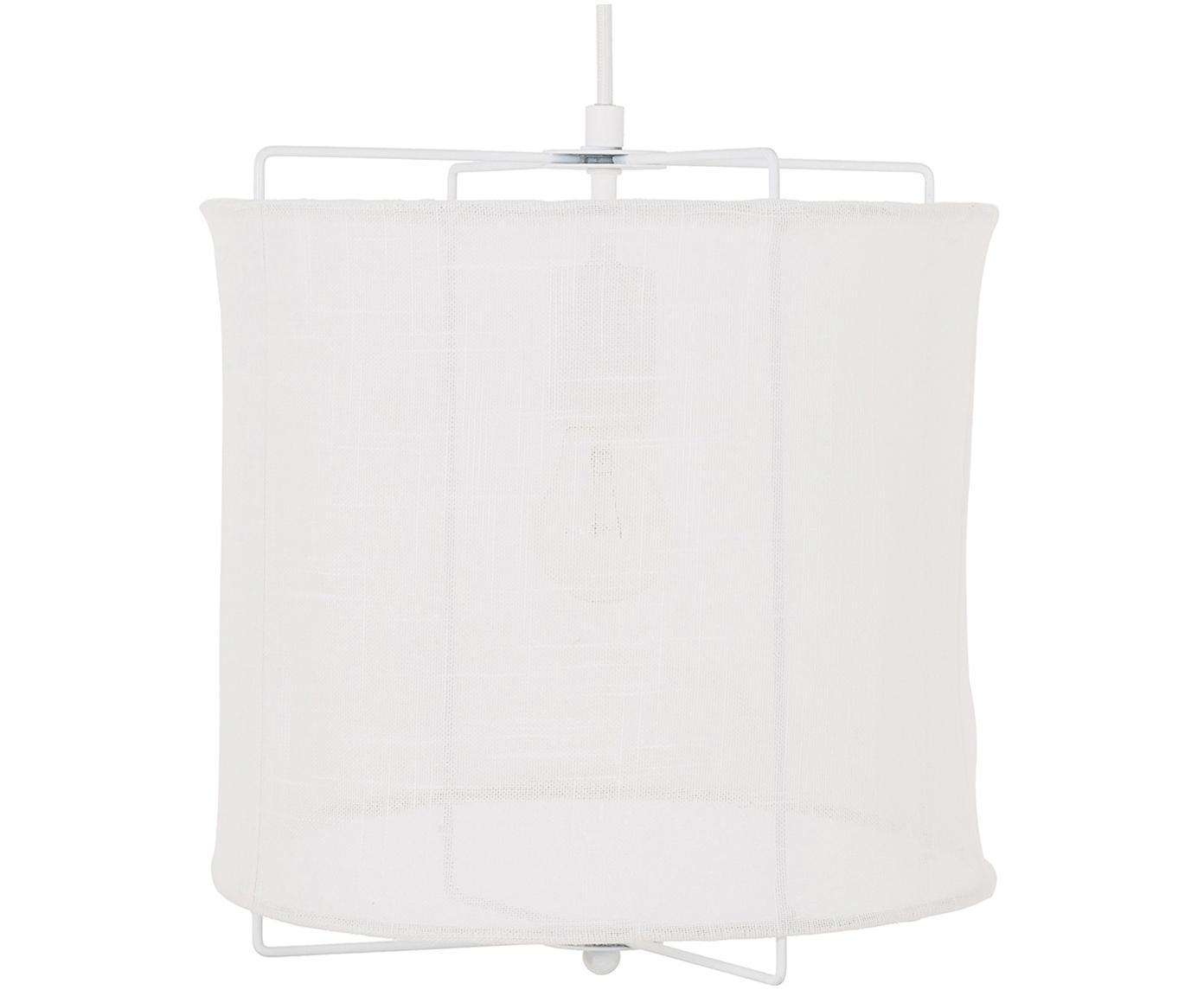 Lámpara de techo Clouds, Pantalla: lino, Cable: cubierto en tela, Blanco, Ø 30 x Al 30 cm