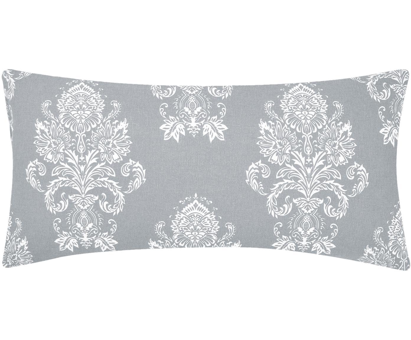 Poszewka na poduszkę z flaneli Sissi, 2 szt., Szary, biały, S 40 x D 80 cm