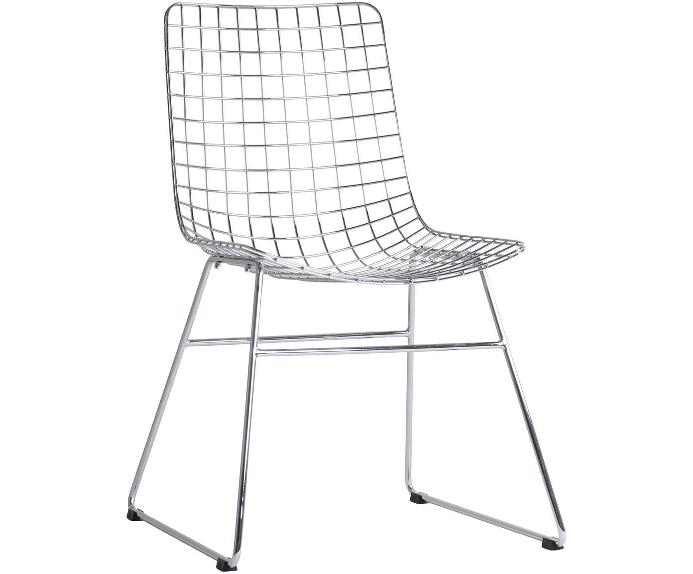 Sedia in metallo Wire, Metallo cromato, Cromo, Larg. 47 x Prof. 54 cm