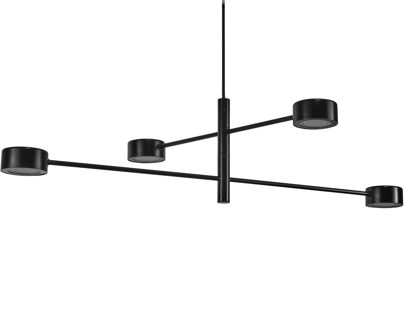 Grosse LED Pendelleuchte Clyde, Lampenschirm: Metall, beschichtet, Baldachin: Metall, beschichtet, Schwarz, Ø 90 x H 222 cm