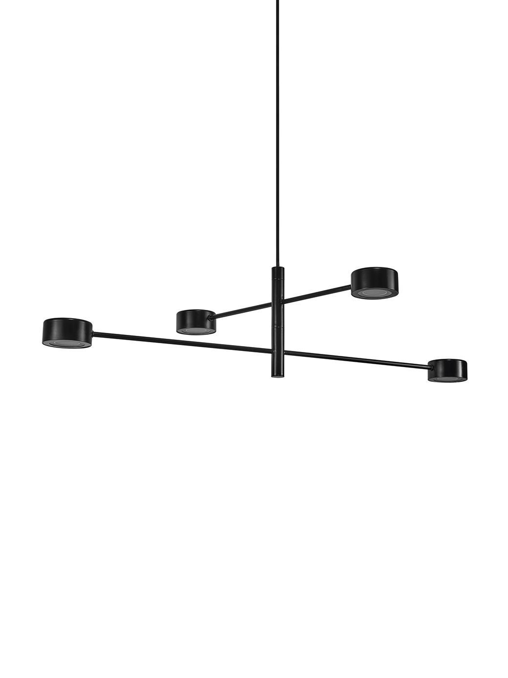 Lámpara de techo LED grande Clyde, Pantalla: metal recubierto, Estructura: metal recubierto, Anclaje: metal recubierto, Negro, Ø 90 x Al 222 cm
