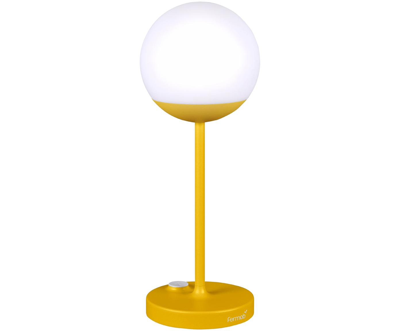 Mobiele outdoor LED lamp Mooon, Lampenkap: kunststof, Geel, Ø 15 x H 41 cm